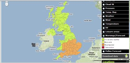 an image from the new UK met office map